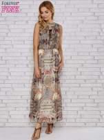 Ecru sukienka maxi w ornamentowe wzory z koronką z tyłu                                  zdj.                                  2