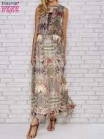 Ecru sukienka maxi w ornamentowe wzory z koronką z tyłu                                  zdj.                                  1