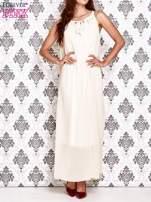 Ecru sukienka maxi z wiązaniem przy dekolcie                                  zdj.                                  1
