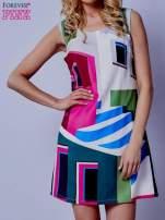 Ecru sukienka w kolorowe geometryczne wzory                                  zdj.                                  1