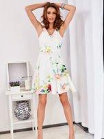 Ecru sukienka w kolorowe kwiaty                                  zdj.                                  4