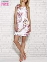 Ecru sukienka w różowe kwiaty                                  zdj.                                  2
