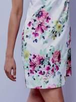 Ecru sukienka w zielone kwiaty                                                                          zdj.                                                                         4