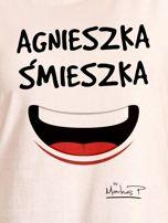 Ecru t-shirt damski AGNIESZKA ŚMIESZKA by Markus P                                  zdj.                                  2