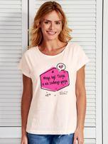 Ecru t-shirt damski MOGĘ BYĆ TWOJA by Markus P                                  zdj.                                  1