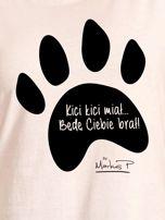 Ecru t-shirt damski z łapką KICI KICI MIAŁ by Markus P                                  zdj.                                  2