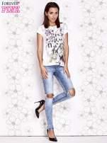 Ecru t-shirt damski z napisem GIRL MEETS BOY                                                                          zdj.                                                                         2
