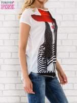 Ecru t-shirt z dziewczęcym nadrukiem                                   zdj.                                  3