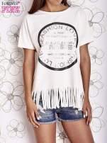Ecru t-shirt z nadrukiem i frędzlami                                                                          zdj.                                                                         1