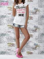 Ecru t-shirt z napisem BARBIE WANTS TO BE ME                                  zdj.                                  2