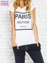 Ecru t-shirt z napisem PARIS BOUTIQUE z dżetami