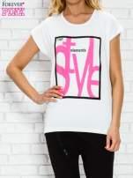 Ecru t-shirt z napisem STYLE z dżetami                                  zdj.                                  1