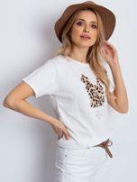 Ecru t-shirt z pluszowym kotem                                  zdj.                                  3