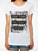 Ecru t-shirt ze złotym napisem NEW YORK HERE I COME AGAIN                                                                          zdj.                                                                         7