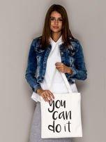 Ecru torba materiałowa YOU CAN DO IT                                  zdj.                                  3