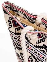 Ecru torba plażowa w azteckie wzory                                  zdj.                                  6