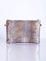 Elegancka kopertówka z motywem wężowej skóry srebrna                                  zdj.                                  3