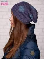 Fioletowa dzianinowa czapka z serduszkami                                                                          zdj.                                                                         2