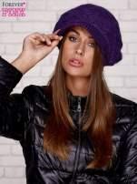 Fioletowa dziergana czapka z daszkiem                                  zdj.                                  1