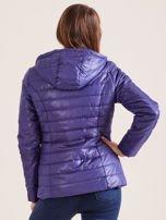 Fioletowa pikowana kurtka z kapturem                                  zdj.                                  5