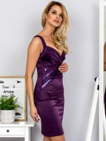Fioletowa sukienka z cekinowymi wstawkami                                  zdj.                                  5