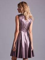 Fioletowa sukienka z ekoskóry                                  zdj.                                  2