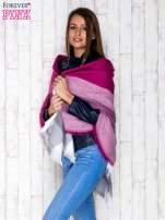 Fioletowy wełniany szalik w szeroką kratę