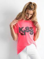 Fluo różowy t-shirt z aplikacją                                  zdj.                                  1