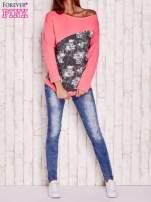 Fluoróżowa bluza oversize z szarą wstawką                                  zdj.                                  2
