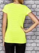 Fluożółty damski t-shirt sportowy w paski                                  zdj.                                  2