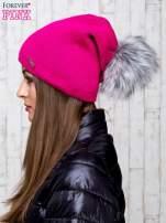 Fuksjowa wełniana czapka z futrzanym pomponem                                   zdj.                                  2
