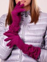 Fuksjowe długie rękawiczki z marszczonym ściągaczem                                                                           zdj.                                                                         1