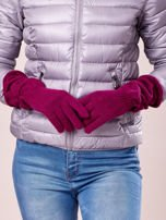 Fuksjowe długie rękawiczki z marszczonym ściągaczem                                   zdj.                                  3