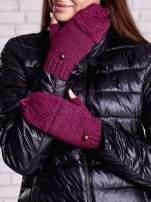 Fuksjowe rękawiczki bez palców z nakładaną górą na guzik                                  zdj.                                  3