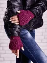 Fuksjowe rękawiczki bez palców z nakładaną górą na guzik                                  zdj.                                  1