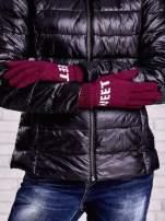 Fuksjowe rękawiczki z napisem SWEET i z wywijanym ściągaczem                                  zdj.                                  2
