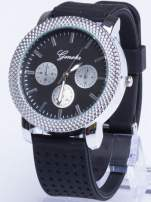 GENEVA Czarno-srebrny zegarek damski na miękkim żelowym pasku                                  zdj.                                  1
