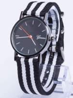 GENEVA Czarny zegarek unisex z modnym materiałowym kolorowym paskiem