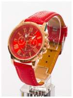 GENEVA Czerwony zegarek damski na skórzanym pasku                                  zdj.                                  2