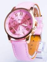 GENEVA Jasnoróżowy zegarek damski na skórzanym pasku