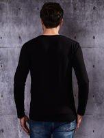 Gładka czarna bluzka męska z długim rękawem                                  zdj.                                  3