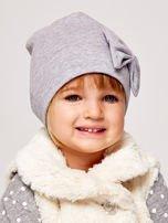Gładka dziewczęca czapka z ozdobną kokardką szara                                  zdj.                                  1