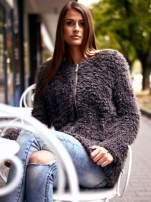 Grafitowy futrzany sweter kurtka na suwak                                  zdj.                                  11