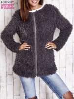 Grafitowy futrzany sweter kurtka na suwak                                                                          zdj.                                                                         4