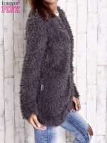 Grafitowy futrzany sweter kurtka na suwak                                  zdj.                                  5