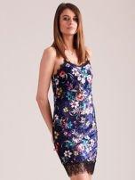Granatowa aksamitna sukienka bieliźniana w kwiaty                                  zdj.                                  3