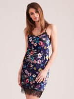 Granatowa aksamitna sukienka bieliźniana w kwiaty                                  zdj.                                  1