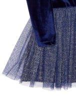Granatowa aksamitna sukienka dla dziewczynki                                  zdj.                                  4