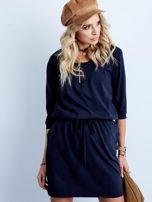 Granatowa bawełniana sukienka z kieszeniami                                  zdj.                                  5