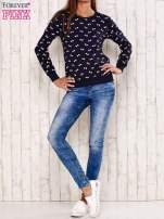 Granatowa bluza motyw kokardek                                  zdj.                                  2